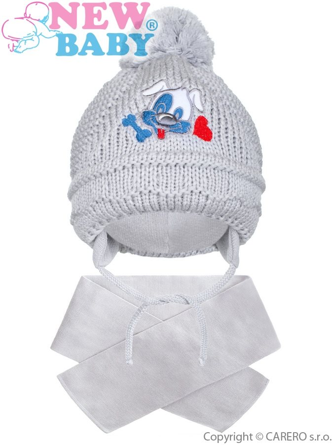 Zimní dětská čepička se šálou New Baby pejsek šedá  cbbc2adf3c