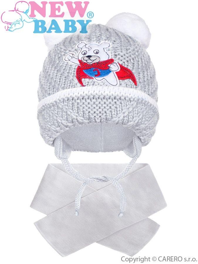 Zimní dětská čepička se šálou New Baby medvídek J šedá  6bff4a1e97