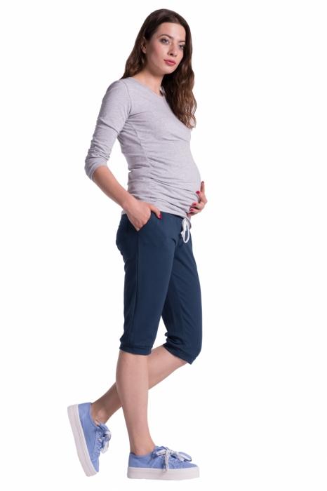 Moderní těhotenské 3 4 kalhoty s kapsami - navy  886048b703