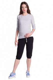 Moderní těhotenské 3 4 kalhoty s kapsami - černé 9d45792bcf